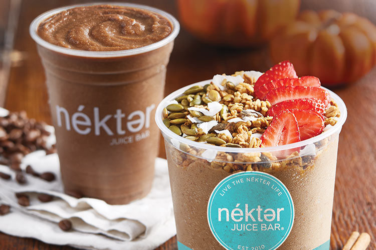 Nekter Cold Brew Protein Smoothie and Pumpkin Almond Bowl